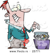 October 18th, 2017: Cartoon Vector of a Business Man Putting His Card into a Bowl for a Drawing by Toonaday