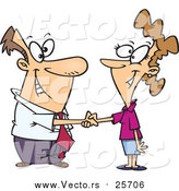 Cartoon Vector of a Business Man Shaking Hands with a Business Woman by Toonaday