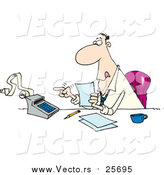 Cartoon Vector of a Busy Accountant Using a Calculator at His Desk by Toonaday