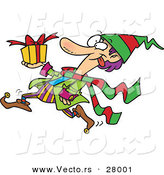 Cartoon Vector of a Busy Christmas Elf Running with a Present by Toonaday