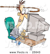 Cartoon Vector of a Cane Reaching to Pull an Addicted Man Away from a Computer by Toonaday
