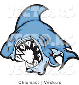 Cartoon Vector of a Cartoon Blue Shark Mascot Attacking by Chromaco