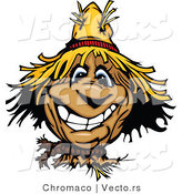 Cartoon Vector of a Cartoon Scarecrow with Big Grin by Chromaco