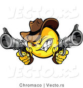 Cartoon Vector of a Cartoon Smiley Cowboy Shooting Pistols While Grinning by Chromaco