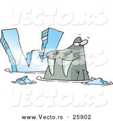 Cartoon Vector of a Cartoon Walrus Beside Alphabet Letter W by Toonaday