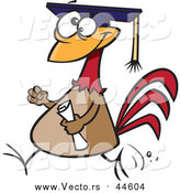 Cartoon Vector of a Chicken Graduate with a Cap and Diploma by Toonaday