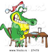 Cartoon Vector of a Christmas Alligator Waiting for Dinner by Toonaday