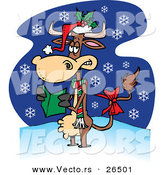 Cartoon Vector of a Christmas Cow Singing Carols While It Snows by Ron Leishman