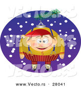 Cartoon Vector of a Christmas Elf Ornament Hanging on a Tree Outside with Snow Falling in the Background by Toonaday