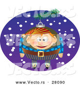Cartoon Vector of a Christmas Elf Ornament in a Tree by Toonaday