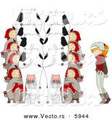 Cartoon Vector of a Christmas Girl with Eight Maids Milking Cows by BNP Design Studio