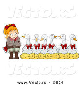 Cartoon Vector of a Christmas Girl with Six Geese a Laying by BNP Design Studio
