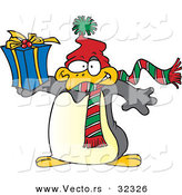 Cartoon Vector of a Christmas Penguin Holding a Present by Toonaday