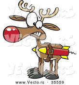 Cartoon Vector of a Christmas Reindeer Strapped to a Couple Rockets by Toonaday