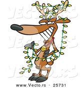 Cartoon Vector of a Christmas Reindeer Wearing Yellow Lights by Ron Leishman