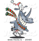 Cartoon Vector of a Christmas Rhino Riding a Unicycle and Wearing a Santa Hat by Toonaday