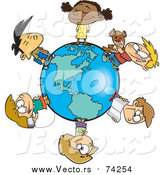 Cartoon Vector of a Circle of Kids on a Small World by Toonaday