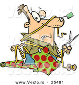 Cartoon Vector of a Clueless Man Trying to Wrap Christmas Gifts by Ron Leishman