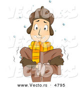 Cartoon Vector of a Cold Man Shivering Outside in Winter Weather by BNP Design Studio