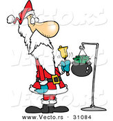 Cartoon Vector of a Cold, Skinny Santa Ringing Gold Bell for Donations by Toonaday
