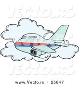 Cartoon Vector of a Commercial Airliner Plane Passing a Cloud in Flight by Toonaday