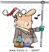 Cartoon Vector of a Commuting Man Whistling and Wearing a Santa Hat by Toonaday