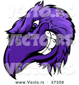 Cartoon Vector of a Competitive Purple Cartoon Raven Mascot Head Grinning by Chromaco
