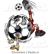 Cartoon Vector of a Competitive Soccer Ball Mascot Performing Technical Kick Back Trick by Chromaco