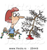 Cartoon Vector of a Confused Woman Holding Colorful Christmas Lights and Looking at Her Dead Christmas Tree in the Stand by Toonaday