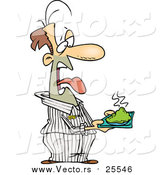 Cartoon Vector of a Disgusted Male Prisoner Holding a Plate of Green Food by Toonaday