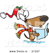 Cartoon Vector of a Dog Singing Christmas Carols Outside in the Snow by Toonaday