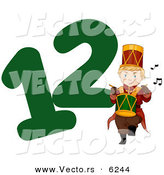 Cartoon Vector of a Drummer Drumming Beside a Green Number Twelve for Christmas by BNP Design Studio