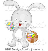 Cartoon Vector of a Easter Bunny Carrying Eggs and Basket by BNP Design Studio
