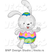 Cartoon Vector of a Easter Bunny Wearing Egg Costume by BNP Design Studio