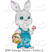 Cartoon Vector of a Easter Bunny with Basket Full of Eggs by BNP Design Studio