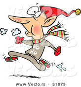 Cartoon Vector of a Elf Running Fast by Toonaday