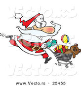 Cartoon Vector of a Energetic Santa Running with a Shopping Cart Full of Toys for Christmas Gifts by Toonaday
