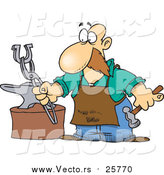 October 18th, 2017: Cartoon Vector of a Farrier Working on a Horseshoe by Toonaday