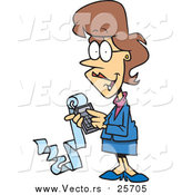 Cartoon Vector of a Female Accountant Holding a Calculator with a Long Strip of Paper by Toonaday