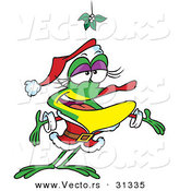 Cartoon Vector of a Female Frog Wearing Santa Costume Under Mistletoe by Toonaday