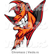 Cartoon Vector of a Fiery Cartoon Devil Grinning with Evil Yellow Eyes by Chromaco
