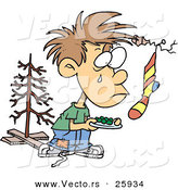Cartoon Vector of a Financially Poor Christmas Boy Wanting More on Christmas by Toonaday