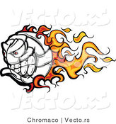 Cartoon Vector of a Flaming Volleyball Ball Mascot with an Evil Competitive Grin by Chromaco