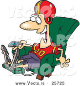 Cartoon Vector of a Football Fan Watching TV in an Arm Chair by Toonaday