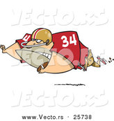 Cartoon Vector of a Football Fullback with the Ball by Toonaday