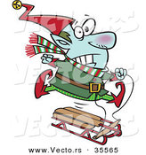 Cartoon Vector of a Freezing Christmas Elf Riding a Sled by Toonaday
