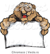 Cartoon Vector of a Friendly Bear Mascot Holding Blank Sign by Chromaco