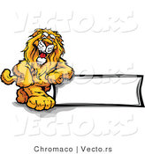 Cartoon Vector of a Friendly Lion Mascot Leaning on Blank Sign by Chromaco