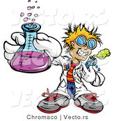 Cartoon Vector of a Friendly Scientist Holding a Flask and Test Tube by Chromaco