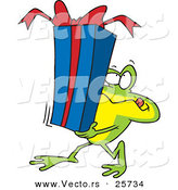 Cartoon Vector of a Frog Carrying Present by Toonaday